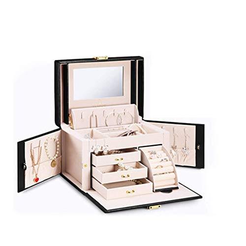 GZQDX wandlamp, sieradendoos voor vrouwen meisjes met kleine reiskoffer spiegel ketting ring oorbellen organisator
