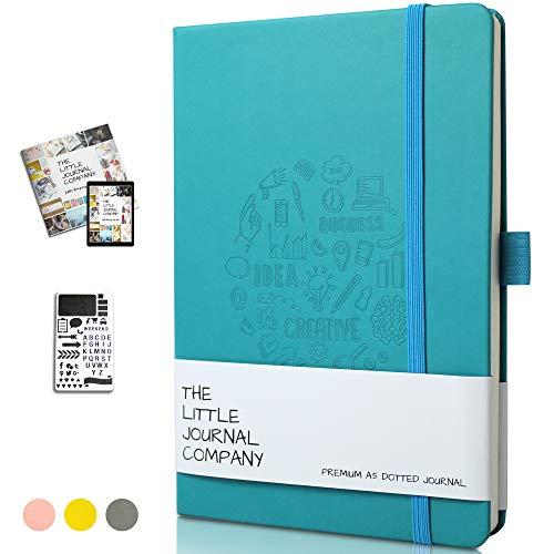 Premium Bullet, diario/taccuino planner, in spessa carta avorio formato A5, con copertina morbida in pelle PU, pagine numerate a pois, stencil e eBook incluso, marchio UK Blue Thoughts