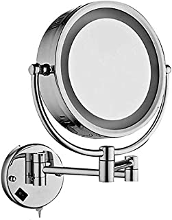 Makeup Vanity Mirror with Lights, Two-Sided Wall Mounted Beauty Mirror 3X Magnification Cosmetic Mirror 360° Swivel Bathroom Mirror,Chrome_8.5inch,Bathroom