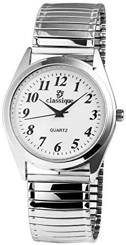 Classique Herren – Uhr Zugarmbanduhr Metall Analog Quarz 2700009 (Silberfarben/Weiß)