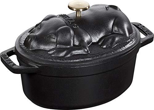STAUB Cocotte Schwein 17 cm Bräter, Gusseisen, schwarz