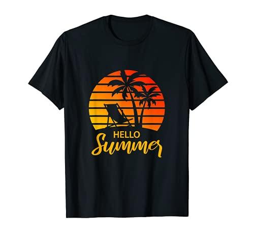 Hello Summer Vacation Sunset Beach Palm Tree Retro Vintage T-Shirt