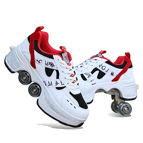YYW DDeformation - Zapatos de patinaje con ruedas para mujer, unisex, ajustables, cuatro patines, botas deportivas al aire libre, 2 en 1, multiuso, zapatos para caminar, zapatos de patada (blanco, 43)