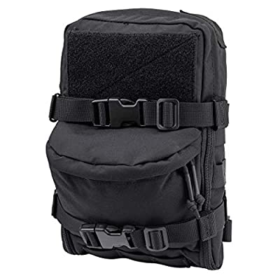 IDOGEAR Mini MOLLE Hydration Pouch Tactical Water Reservoir Bag Outdoor Water Bladder Carrier Pack for Tactical Backpack Gears 500D Nylon (C:Black)