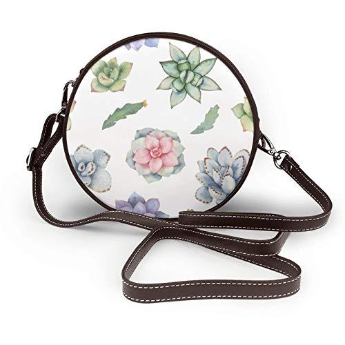 Wasserfarbenes, nahtloses Muster von Kakteen und Vektor-Bild, Umhängetasche, runde Tasche für Frauen, runde Handtaschen, PU-Leder, Reißverschluss, Geldbörse, personalisierbar