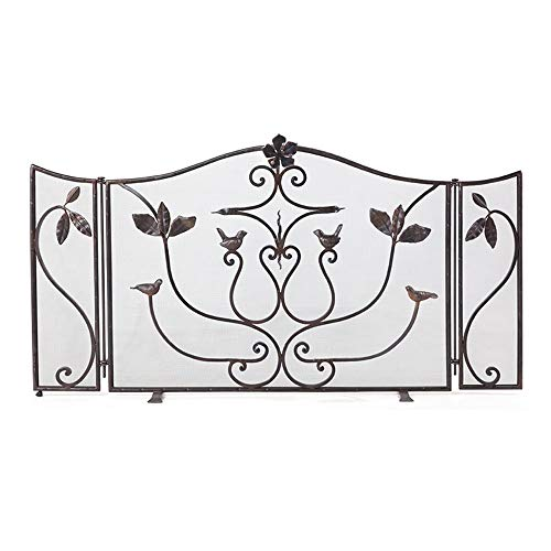 Check Out This WJMLS Fireplace Guard Folding Leaves and Birds Design, 3-Panel Safety Fire Gates Home