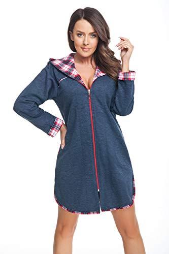 DOROTA trendiger und gemütlicher Damen Baumwoll-Bademantel, made in EU, verschiedene Ausführungen (M, dunkelblau-kariert)