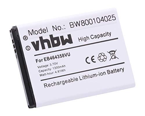 vhbw Li-Ion Akku 1300mAh (3.7V) für Handy, Smartphone Samsung Galaxy Ace Duos, Ace Plus, Appeal, JENA, Mini, Music wie EB464358VU, EB464358VUBSTD.