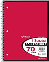 Top Flight Standards 1-Subject Wirebound Notebook, 70 Sheets, College Rule, 10.5 x 8 Inches, 1 Notebook, Red Cover (30074)
