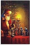 LGHLJ Laminas para Cuadros Póster de Papá Noel y el Nacimiento de Jesús, Pintura Decorativa, Lienzo, Arte de Pared, Carteles, Pintura 50x70cm x1 Sin Marco