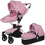 Cochecito de bebé Portátil Portátil Cochecito de carruaje Portátil Cochecito de cochecito de cochecito de bebé, función de rotación de 360 grados, cochecito de cochecito de bebé, 2020, rosa