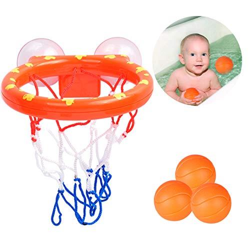 Gxhong Canasta Baloncesto Infantil Bañera con 3 Pelotas,Mini Baloncesto de Baño, Regalo de Juguetes de baño para niños y niños pequeños