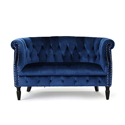 Melaina Tufted Chesterfield Velvet Loveseat with Scrolled Arms, Navy Blue and Dark Brown