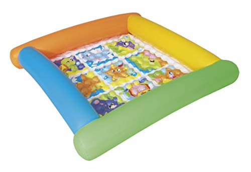 Bestway 52240 - Alfombra de Juegos Hinchable Friendly Animals 132x132x23 cm