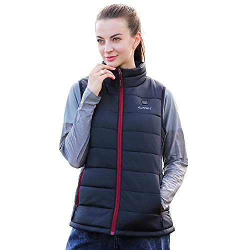IUREK Heated Vest, ZD937 Women's Electric Heated Gilet Jacket with 10000mAh Battery Pack, 3 Adjustable Temperature, Washable Heated Body Warmer for Winter Outdoors
