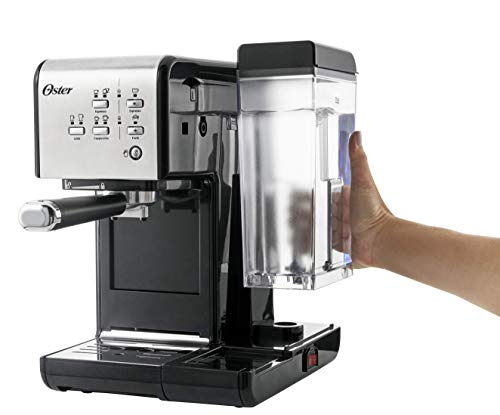 Oster Cafetera espreso Prima Latte II, 19 bares, con tratamiento de leche, plata, 0