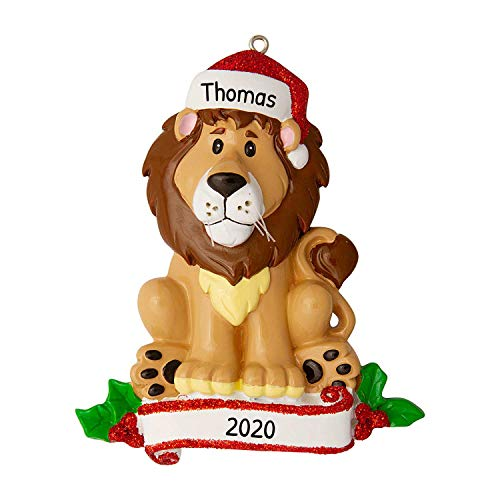 Personalized Lion Zoo Animals Christmas Tree Ornament 2020 - Cute Brown Forest Collection Adventure Toy Costume King Guard Brave Simba Kion Jungle Cub Broadway Gift Year - Free Customization