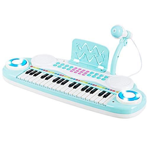 COSTWAY 37 Tasten Klaviertastatur, Kinder Keyboard, Klavier Spielzeug elektronisch, Musikinstrument mit Aufnahme- und Abspiel-Funktion, inkl. Mikrofon und Musikpartitur (Blau)