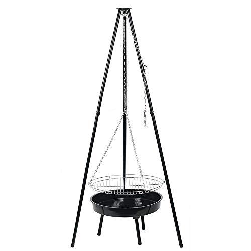 Jawoll 3-Bein Schwenkgrill 150 cm Feuerschale Dreibein Rost Grillgerät Höhenverstellbar