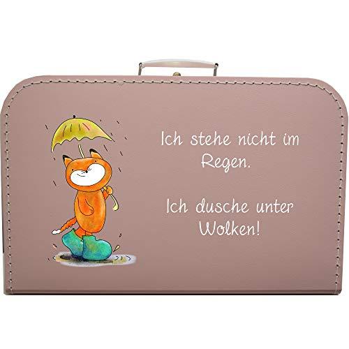 Pappkoffer Fuchs & Spruch Ich Stehe Nicht im Regen. Ich Dusche unter Wolken! Koffergröße 35 x 22,5 x 10 cm, Farbe rosa