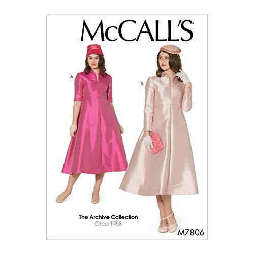 McCall Pattern Company McCall's The Archive Collection Women's 1958 Vintage Dress Sewing Patterns, Sizes 14-22, 14-16-18-20-22, White