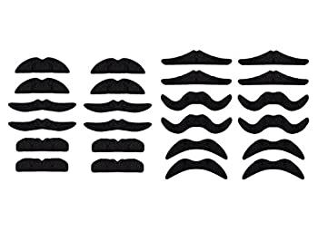 LuckyStar365 24 pcs Novelty Fake Mustaches Mustache Party Supplies Self Adhesive Mustaches for Masquerade Party & Performance