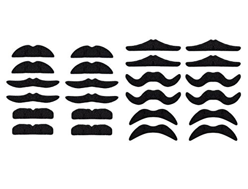 LuckyStar365 24 pcs Novelty Fake Mustaches, Mustache Party Supplies, Self Adhesive Mustaches for Masquerade Party & Performance