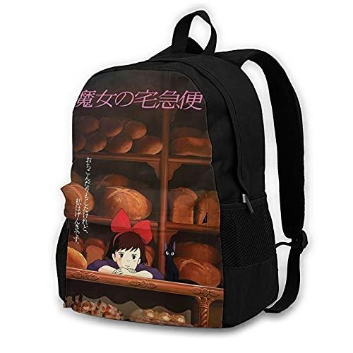 Kik&i'&s Del&ivery Service& Anime Mochila de viaje Bolsa de libro para computadora portátil, con impresión 3D, linda mochila multifunción, adecuada para deportes