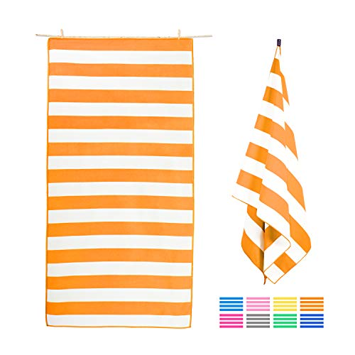 Plazenzon Microfiber Beach Towel Oversized Travel Towel (Large 63x35), Quick Dry Towel for Swim, Pool - Sand Proof Beach Towel - Lightweight, Compact Beach Towel for Kids Adult(Orange Stripes)