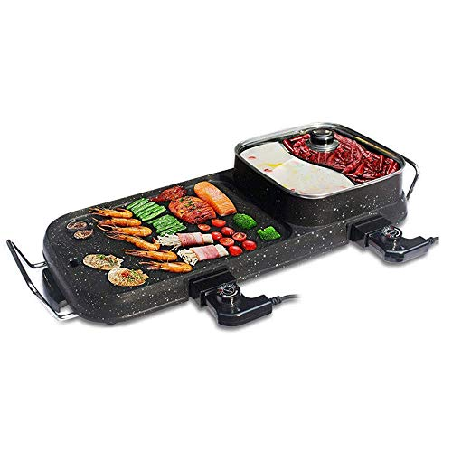 411r9dPdyJL - Lamyanran Fondue-Fritteusen BBQ Grill & Hot Pot, Non-Stick Elektrobackblech, Multi-Funktions-Elektro-Grill-Ofen und Hot Pot mit 5 Einstellbare Electric Power