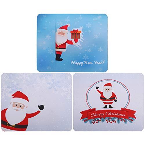 SOLUSTRE 3 Unids Navidad Mouse Pad Patrón de Santa Claus Alfombrilla de Mouse de Goma Antideslizante Alfombrilla de Mouse para Juegos para Feliz Año Nuevo Computadora Portátil Juegos de Pc