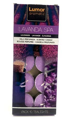 Lavanda Spa, Vela ligera en caja, Lavanda, 10 Velas perfumadas.