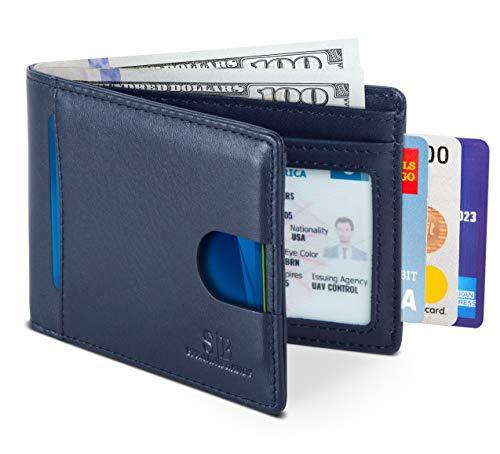 SERMAN BRANDS RFID Blocking Slim Bifold Genuine Leather Thin Minimalist Front Pocket Wallets for Men (Luxe Blue 2.0)
