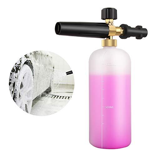 Qooltek Einstellbare Schaumkanone 1 Liter Flasche Schneeschaum Lanze Seifenspender Düse für Karcher K Serie K2 / K3 / K4 / K5 / K6 / K7 Hochdruckreiniger