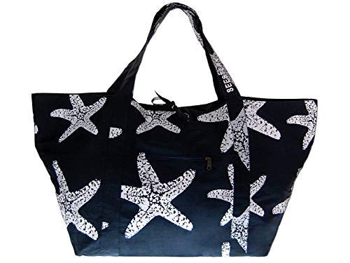 SEESTERN große stabile Baumwoll Canvas Strandtasche Beachbag Bade Trage Tasche /1600 Blau