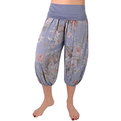 Shujin - Pantalones pirata para mujer de verano 3/4 de longitud, ligeros pantalones capri con estampado de flores, Primavera-verano, Mujer, color Mezclilla Azul, tamaño 46