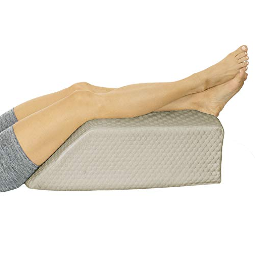 Xtra-Comfort Leg Elevation Pillow - Wedge Elevator Support Cushion for Sleeping, Swelling - Elevated Prop Up Position, Back Pain, Foot Rest, Sciatica - Knee Elevating Incline Memory Foam (Brown)