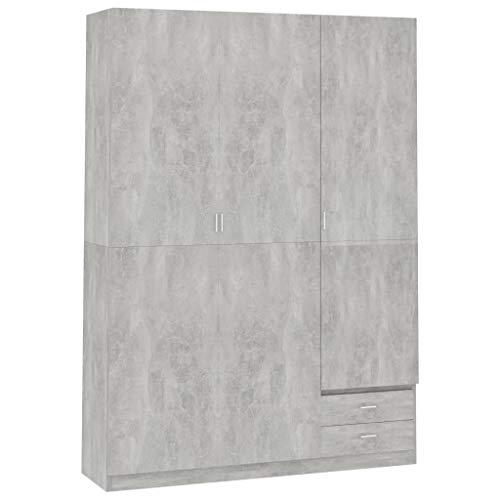 vidaXL Armario de 3 puertas de aglomerado gris hormigón 120x50x180 cm