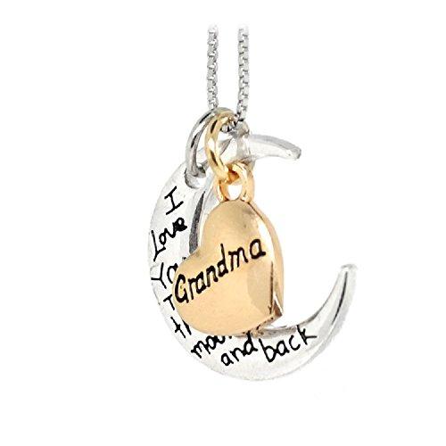 Zilveren-Toon 'Oma Ik Liefde U Naar De Maan En Terug' Gegraveerd Hanger Ketting 2 x 2.0cm Met 18 Inch Keten Gouden Hart