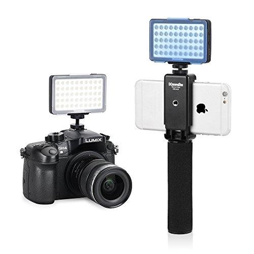 Commlite CM-L50BII Dimmerabile 50 LED Ultra High Power Videocamera a pannello Video Light LED, Mini luce universale per fotocamera, Canon, Nikon, fotocamera digitale (nero) (Senza impugnatura palmare)