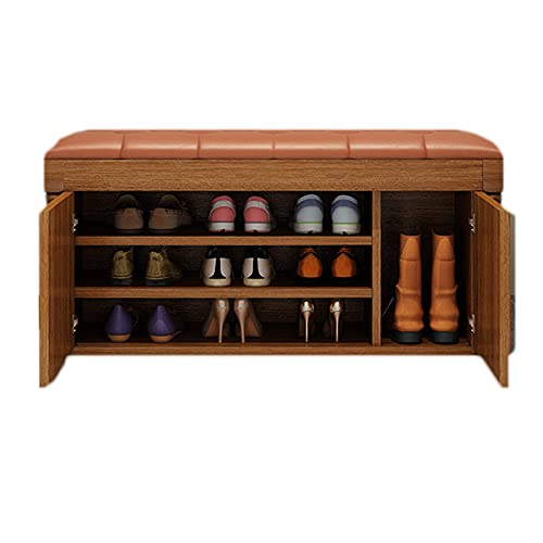 ZAIHW Storage Bench 3-Tiers Shoe Racks with Seat Shoe Bench Household Shoe Storage Cabinet Wooden for Home Hallway Entryway,Bedroom, Living Room,Brown,100cm