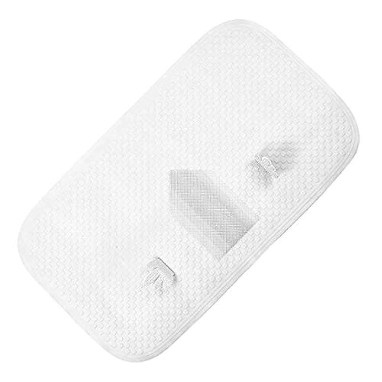 再び懐疑的容赦ないJhua 滑り止めバスタブマット、TPEフットマッサージバスマット、浴室用抗菌防カビシャワーマット(白)