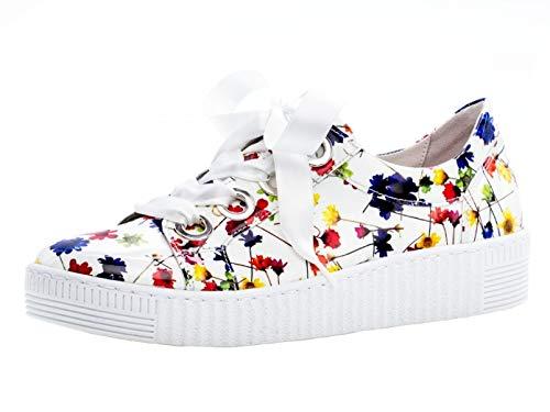 Gabor Damen Low-Top Sneaker 23.330.90, Frauen Halbschuh,Schnürschuh,Strassenschuh,Business,Freizeit,Weiss/Multicolor,37.5 EU / 4.5 UK