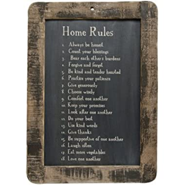 Framed Home Rules Blackboard - Primitive Country Rustic Inspirational Wall Decor by PUCHAN-LM