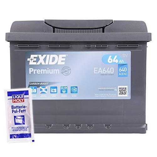 EXIDE EA640 PREMIUM CARBON BOOST 64Ah 640A AUTOBATTERIE PKW KFZ BATTERIE STARTERBATTERIE BATTERIE ERSETZT 58Ah 60Ah 61Ah 62Ah 63Ah + 1x BATTERIEPOLFETT