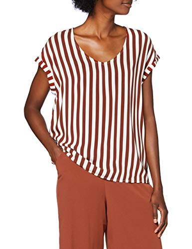 TOM TAILOR Denim Sporty Camicia da Donna, 24350-Rust White Vertical, S