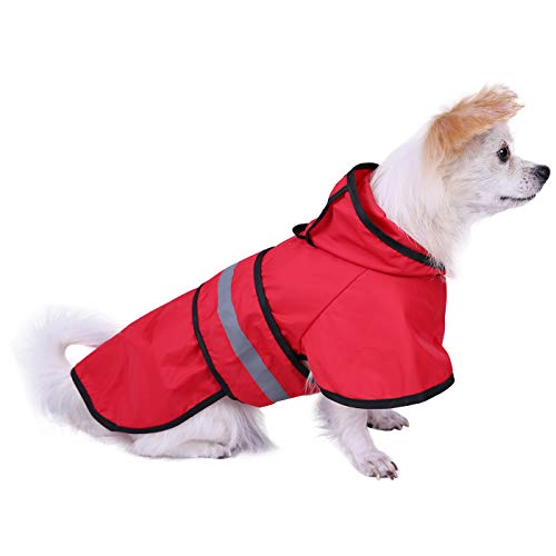 HDE Dog Raincoat Hooded Slicker Poncho for Small to Medium Dogs and Puppies