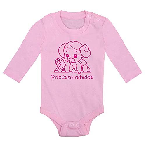 ClickInk Body bebé Princesa Rebelde. Regalo bebé. Regalos para bebés. Regalo divertido. Regalo original. Bebé friki. Regalo friki. Body friki. Body bebé algodón. Manga larga. (Rosa, 6 meses)