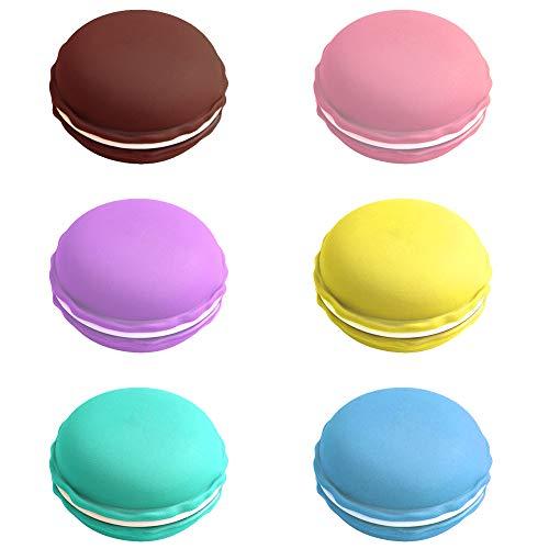 LumenTY 18 stuks macaron doosjes mini leuke kleurrijke macaron oorbellen / hoofdtelefoon organizer opbergdoos klein rond pillendoosje 6 verschillende kleuren