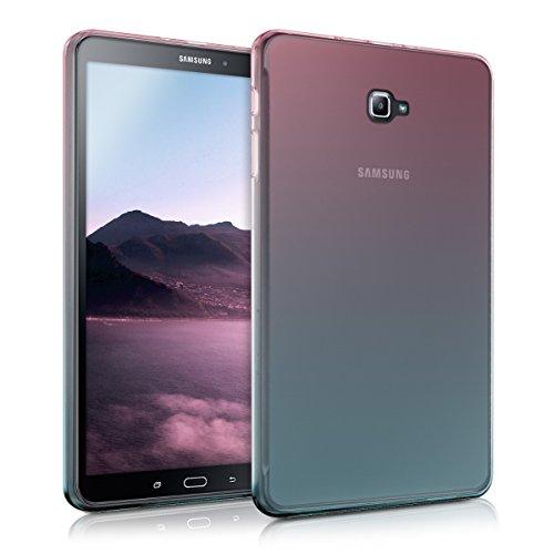 kwmobile Schutzhülle kompatibel mit Samsung Galaxy Tab A 10.1 T580N/T585N (2016) - Hülle Silikon - Tablet Cover Case - Zwei Farben Pink Blau Transparent